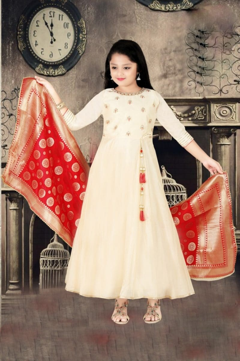 Appealing Beige Color Girls Salwar Kameez With Banarasi Dupatta