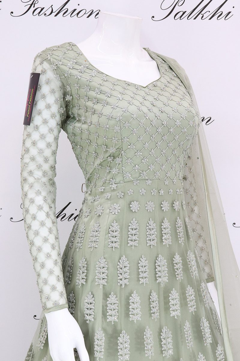 Stunning Light Pista Designer Outfit with Elegant Handwork
