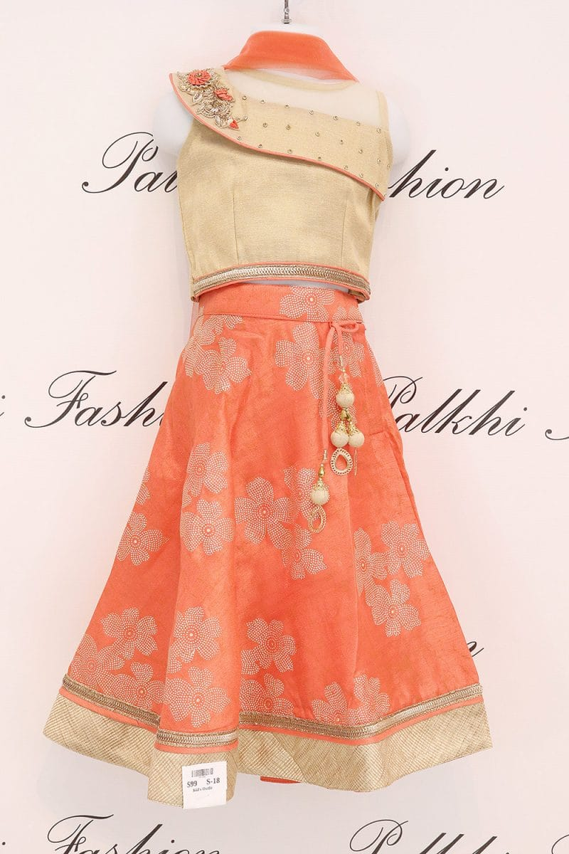 Striking Light Orange/Beige Girls Silk Lehenga Set With Handwork