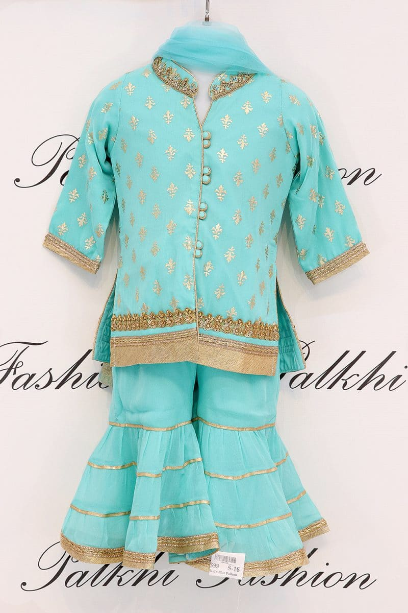 Beautiful Sky Blue Palazzo Suit For Girls From Palkhi Fashion