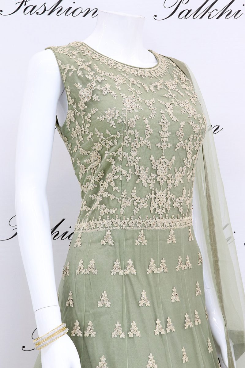 Trendy Pista Green Designer Outfit with Elegant Handwork From Palkhi Fashion