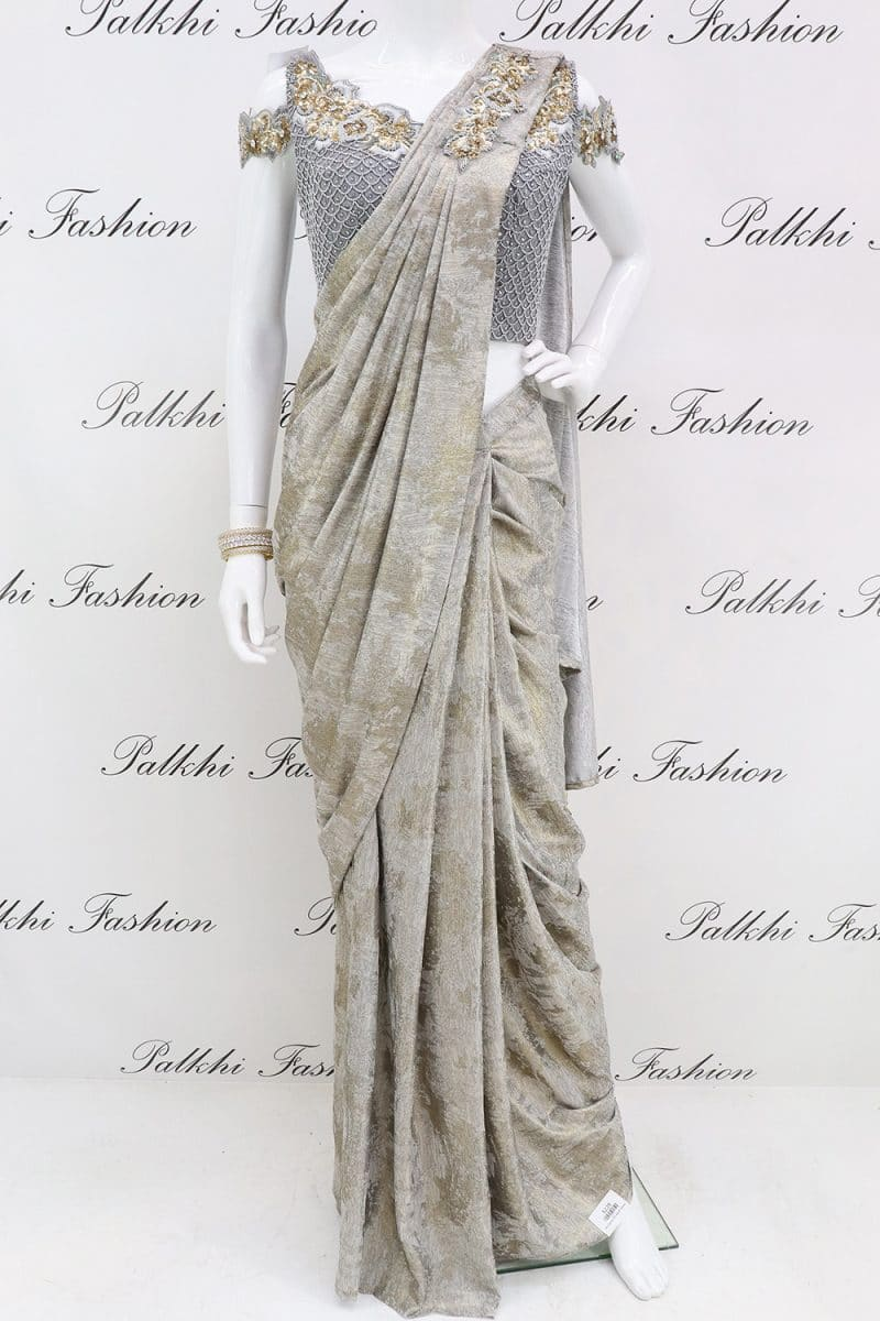 Palkhi Fashion Exclusive Grey Readymade Saree With Ready Made Blouse