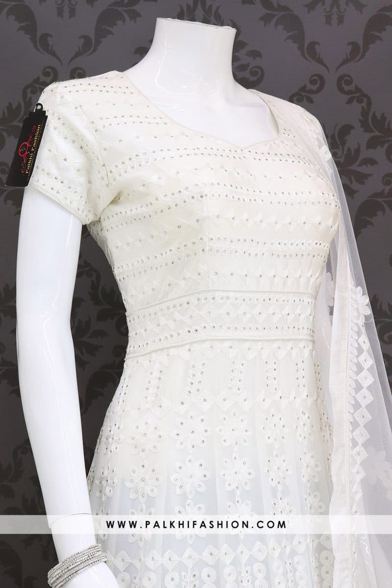 Designer White Pure Georgette Outfit with Elegant Handwork
