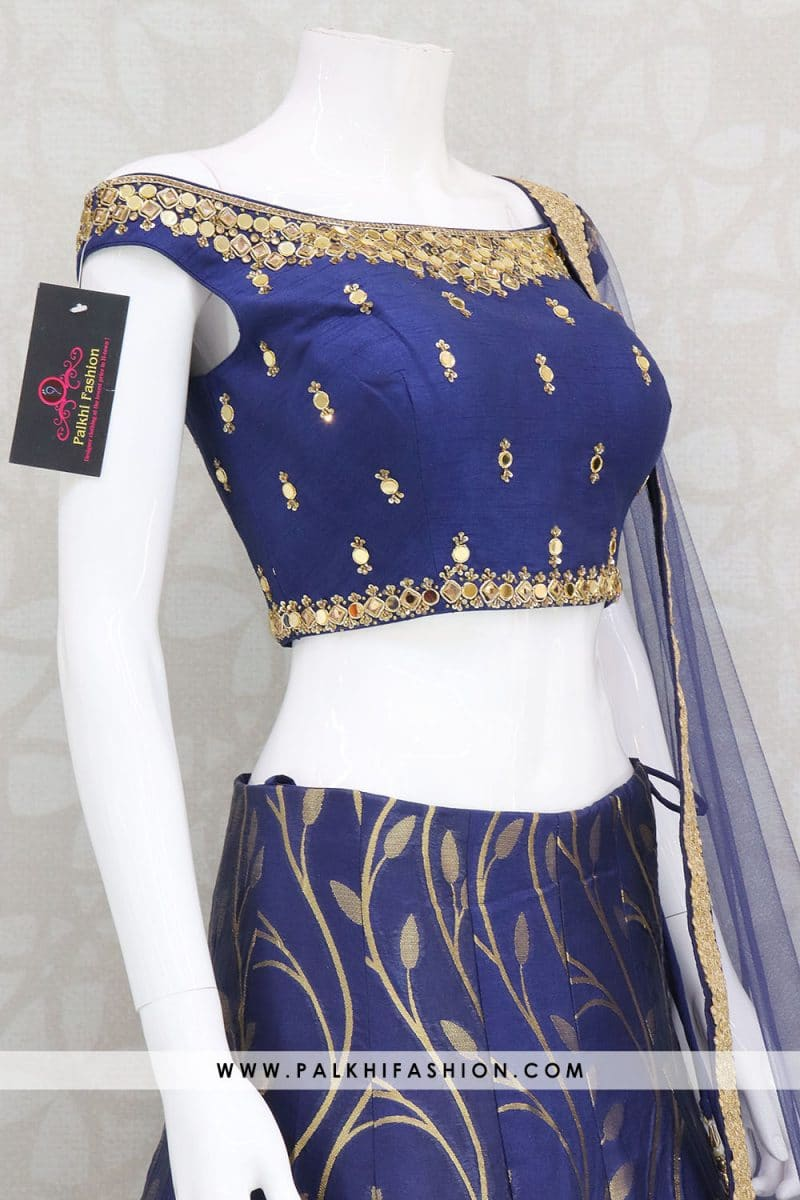 Navy Blue Handwork Silk Lehenga With Off Shoulder Blouse