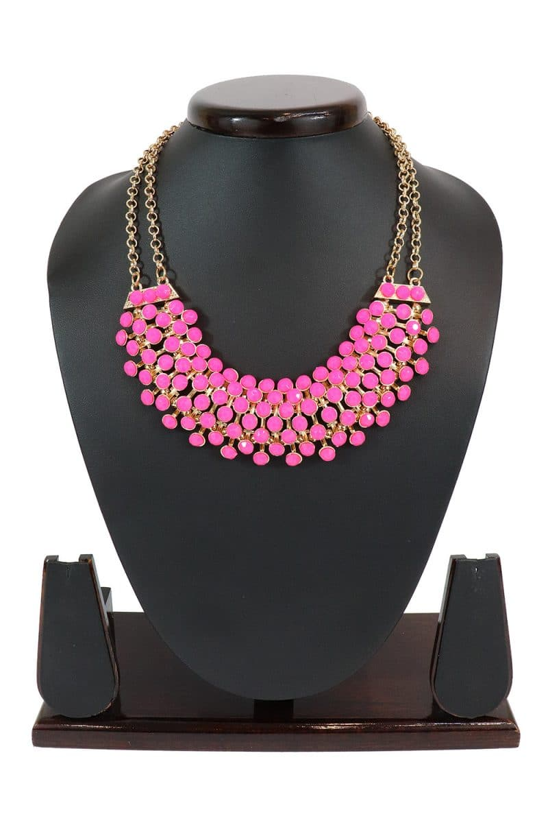 Pink Stone Studded Necklace In Gold Tone PF-J175