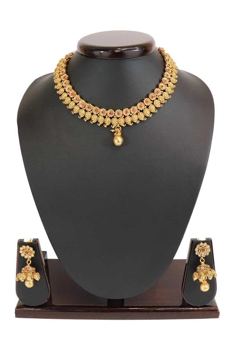 Pink Stone Studded Necklace Set With Matching Earring Set PF-J160