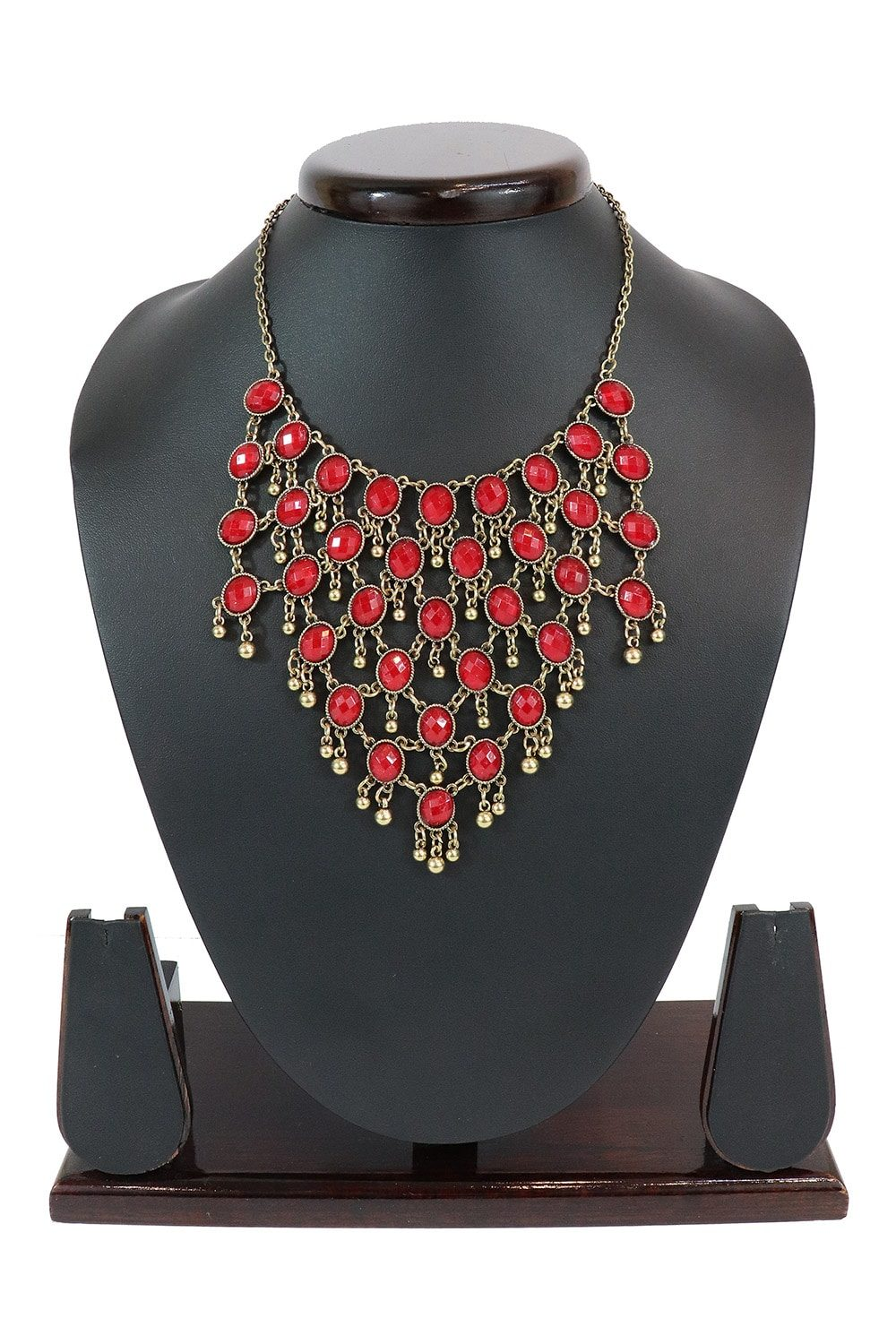 Red Stone Studded Necklace In Gold Tone PF-J170