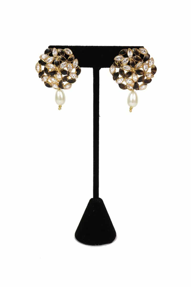 Stone Studded Earring With Artificial Pearls - E65