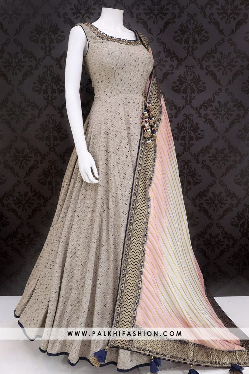 Stunning Light Grey Indian Designer Outfit With Lakhnavi Cutwork From Palkhi Fashion