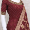 maroon pure georgette indian outfit featuring elegant lakhnavi & resham & kundan work.This outfit comes with pure silk dupatta with elegant silk weaving