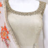 silver grey soft silk indian dress from palkhi fashion with thread weaving & kundan work.gorgeous georgette dupatta.Flap style dress from palkhi fashion
